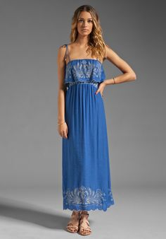 T-BAGS LOSANGELES Scalloped Edge Maxi Dress in Blue at Revolve Clothing - Free Shipping!