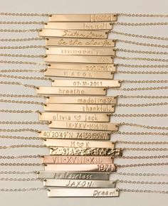 Bar Necklace Personalized Name Plate Necklace, Gold, Silver, Rose Gold Name Bar Necklace: Layered and Long PERFECT BAR Necklace, LN111h by LayeredAndLong on Etsy https://www.etsy.com/listing/228864545/bar-necklace-personalized-name-plate