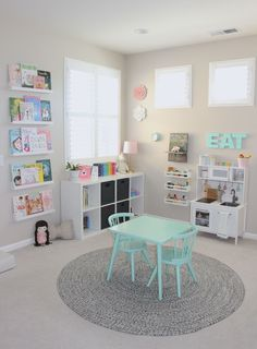 Pretty in Pastels Playroom A pretty in pastels playroom. When I designed Elena's Preschool Inspired Playroom, I wanted the room to mimic her days at preschool and it did just that! Dream Playroom: A Best Playroom Design Fun Kids Playroom Idea Playroom Design, Playroom Decor, Playroom Paint Colors, Wall Decor Kids Room, Baby Wall Decor, Kid Decor, Wall Colors, Colours, Playroom Organization