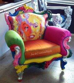 vuogue Funky Painted Furniture, Unusual Furniture, Painted Chairs, Classic Furniture, Colorful Furniture, Art Furniture, Upholstered Furniture, Furniture Makeover, Furniture Design