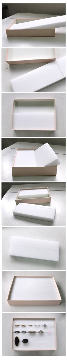 WOW  its that easy Ring Box you could cut the side off of a cereal box just buy foam  cut to fit and cut slits into the foam  stick in your rings   might also work for stud earrings :)