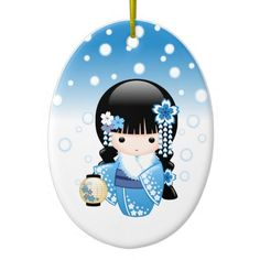 Winter Kokeshi Doll Christmas Ornament