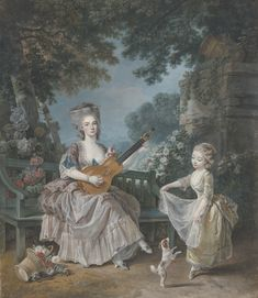 Attributed to Louis Rolland Trinquesse - A lady playing guitar and a child playing with a dog in a garden
