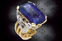 Перстень кольцо с Танзанитом натуральным и Алмазами №105011PE