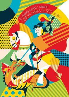 Salve São Jorge !!! Arte Pop, Catholic Art, Religious Art, Holy Art, Saint George And The Dragon, Mosaic Crafts, Poster S, Sacred Art, Art And Architecture