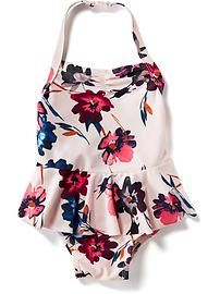 Floral-Print Peplum Swimsuit