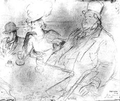 Oscar Wilde, with Yvette Guilbert and Toulouse-Lautrec at his right, seated at the Cafe de la Galette, by Ricard Opisso