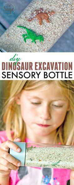 Create portable, non-messy fun with this DIY Dinosaur Excavation Sensory Bottle. Perfect for preschool kids or older kids who enjoy visual discovery. via @730sagestreet