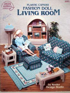 Plastic Canvas Fashion Doll Living Room By Kooler by NeedANeedle, $10.75 Vintage 1990 Barbie Furniture