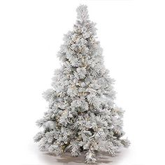 """Vickerman Flocked Alberta Artificial Christmas Tree with Artificial Pine Cones and 250 Clear Lights, 4.5' x 46"""" * Want to know more, visit"""
