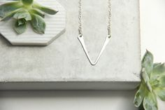 Sterling Silver Small V Necklace by pixleypressed