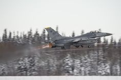 An Air Force F-16 Fighting Falcon assigned to the 35th Fighter Squadron, Kunsan Air Base, South Korea, takes off for a sortie Oct. 6, 2014, at Eielson Air Force Base, Alaska, during Red Flag-Alaska 15-1. RF-A is a series of Pacific Air Forces commander-directed field training exercises for U.S. and partner nation forces, providing combined offensive counter-air, interdiction, close air support and large force employment training in a simulated combat environment. (USAF Senior Airman Peter…