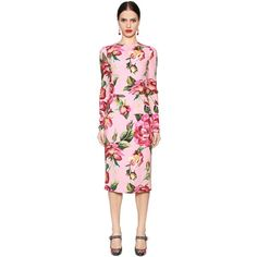 Dolce & Gabbana Women Roses Printed Cady Pencil Midi Dress (€1.840) ❤ liked on Polyvore featuring dresses, pink, round neck dress, rose dress, long sleeve pencil dress, midi day dresses and pencil dresses