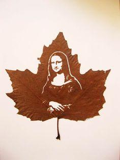 Mona Lisa handmade leaf cut by: Omid Asadi