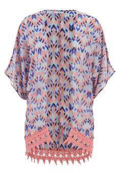 ethnic print chiffon kimono with crochet hem