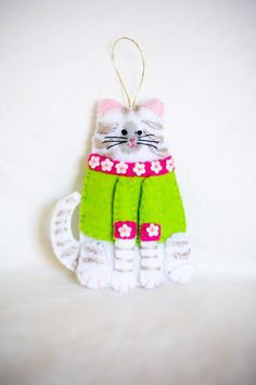 Christmas Felt Tabby Cat in Green and Pink by KarenKattCrafts, $10.00