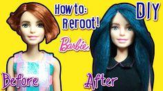 How to Reroot Barbie Doll Hair with Yarn - DIY Barbie Doll Hairstyles - ...
