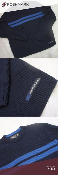 Abercrombie & Fitch sweater navy blue Large Used but great condition cotton blend ribbed sweater from A&F.  Classic look and wear, crewneck, navy with blue stripes across the chest. Abercrombie & Fitch Sweaters Crewneck