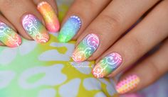 Popular Nail Designs, Simple Nail Designs, Galeries D'art D'ongles, Summery Nails, Lily Nails, Nail Art Galleries, Short Nails, You Nailed It, Rainbow
