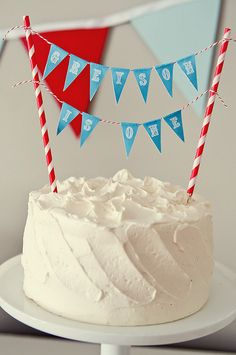 Cake bunting, made with paper straws, baking twine and paper