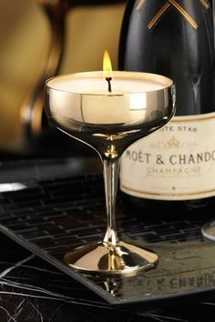 Champagne Goblet Filled Candle