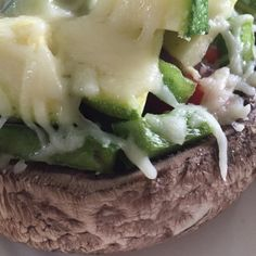 Pesto Portobello Mushroom Pizza | Only 158 calories | Ooey Gooey and great way to get veggies | For Nutrition & Fitness Tips & RECIPES please SIGN UP for our FREE NEWSLETTER www.NutritionTwins.com