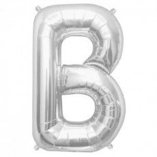 "Ballon aluminium argent ""B"" 34"""