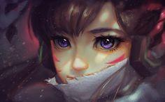 Télécharger fonds d'écran DVA, l'art, les yeux violet, portrait, Overwatch