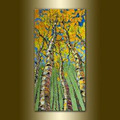 Modern Landscape Painting Birch Tree Oil on Canvas Textured Palette Knife Original Art Seasons 18X36 by Willson Lau