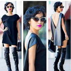 V cut black dress shirt Dope Fashion, Fashion Looks, Womens Fashion, Everyday Dresses, Fashion Stylist, Types Of Fashion Styles, Passion For Fashion, Beautiful Outfits, What To Wear