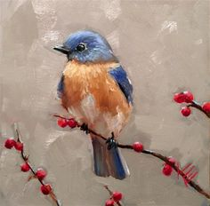 """Daily Paintworks - """"Blue Bird in Early Winter"""" - Original Fine Art for Sale - © Krista Eaton"""