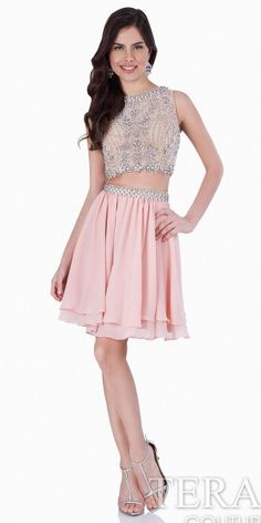 Two Piece Crystal Chiffon Homecoming Dress by Terani Couture