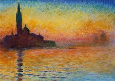 """San Giorgio Maggiore at Dusk(also known asSunset in Venice) is an oil painting by Claude Monet that was painted in 1908. The painting is owned by National Museum Cardiff, the national art gallery of Wales. The original painting is oil on canvas and the dimension is 65.2 cm × 92.4 cm (25.7 in × 36.4 in). The term """"impression"""" signifies the sensory information registered on the retina prior to any recognition of the object. For example, the eye sees tiny black spots before it recognizes them…"""