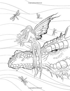 Artist Selina Fenech Fantasy Myth Mythical Mystical Legend Elf Elves Dragon Dragons Fairy Fae Wings Fairies Mermaids Mermaid Siren Sword Sorcery Magic Witch Wizard Coloring pages colouring adult detailed advanced printable Kleuren voor volwassenen coloriage pour adulte anti-stress kleurplaat voor volwassenen Line Art Black and White Fairy Companions: