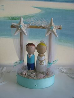Pergola Beach Wedding Cake Topper~Bride and Groom on a Beach Cake Topper~Wooden Peg Dolls Bride and Groom