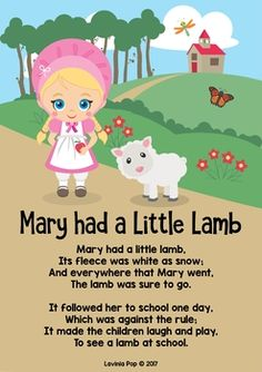 Mary Had a Little Lamb Nursery Rhyme Worksheets and Activities. Poster (color and black and white versions included.)