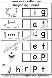 Beginning Sound - Cut and Paste Activity - 4 Worksheets