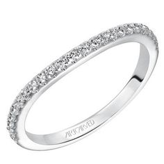 "Artcarved ""Wanda"" Curved Diamond 14K White Gold Prong Set Wedding Band Featuring 0.24 Carats Round Cut Diamonds. Style 31-V506-L. $1000. www.bengarelick.com"
