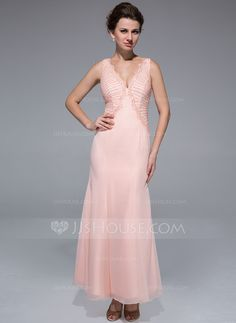 9fc96ce0a4a44 Trumpet/Mermaid V-neck Ankle-Length Beading Zipper Up Regular Straps Sleeveless  2014 Pearl Pink Fall General Chiffon Mother of the Bride Dress