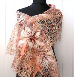 Soft spring shawl Elegant openwork shawl  wrap от crazywoolLT