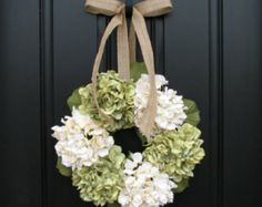 "Hydrangea Wreaths, Summer Hydrangeas, 18"" Hydrangea Wreath, Front Door Wreaths, Summer Front Door Wreath, Burlap Ribbon for Wreaths"