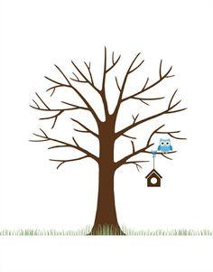 fingerabdruck baum vorlage diy-bäume-gestalten-basteln-einfach-vogelhaus-eule