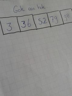 Startopdracht rekenen: laat de kinderen 5 hokjes naast elkaar tekenen. Bedenk 5 getallen tussen de 1 en 100.Op willekeurige volgorde noem je de getallen. Na het noemen van één getal, moeten de kinderen het getal plaatsen in één van de 5 hokjes. De vraag is of ze de juiste keuzes maken en hierdoor de getallen op de juiste volgorde van klein naar groot kunnen plaatsen.