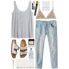 Metallic festival by sophiehackett on Polyvore featuring H&M, Birkenstock, Kate Spade, Dogeared, MARC BY MARC JACOBS, NARS Cosmetics, Giorgio Armani, Lord & Berry, philosophy and Alder New York