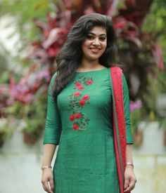 Green Tussar Suit with Floral Embroidery Indian salwar kamees Click VISIT link above to see Salwar Suit Neck Designs, Kurta Neck Design, Neck Designs For Suits, Salwar Designs, Kurta Designs Women, Dress Neck Designs, Kurti Designs Party Wear, Designs For Dresses, Blouse Designs