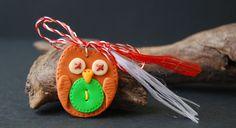 martisor bufnita, owl polymer clay, button polymer clay
