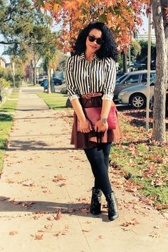 Krystle Nicole's striped shirt with brown skirt and tights