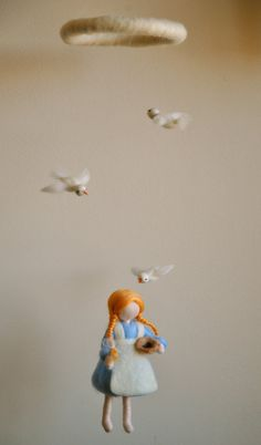 Children Mobile Waldorf inspired needle felted Fairy by MagicWool
