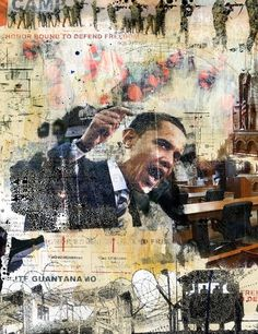 """'BRIAN HUBBLE' by Levy Creative Management, Llc - Artist Representation from United States"""" This college is this artists feeling towards politics during the time. Obama is angry in the photo along with army images and a map. Political Art, Political Events, Political Quotes, Collage Kunst, Collage Art, Gcse Art Sketchbook, Protest Art, A Level Art, Art Lessons"""