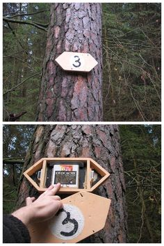 A trail marker?  No, a hidden geocache!  Just be careful how you attach it; remember the hiding guidelines regarding not causing damage to surroundings.  (pics from Twitter stitched together by I.B. Geocaching and pinned to Creative Geocache Containers - pinterest.com/ibgeocaching/creative-geocache-containers/)  #IBGCp
